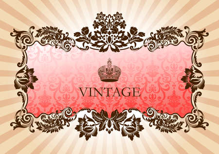 Illustration for Vintage glamour frame red illustration - Royalty Free Image