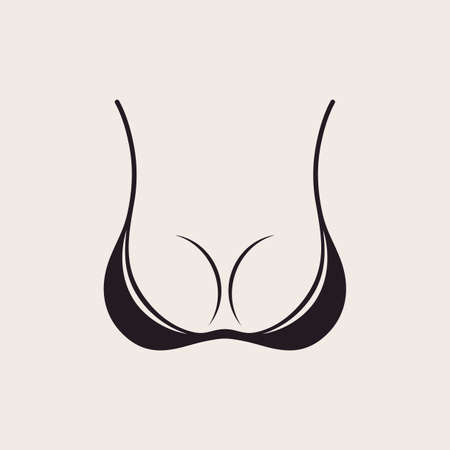 Bra icon sexy logo. Simple emblem slim figure, fitness beautiful breasts vector illustration. Vintage bikini sale label design