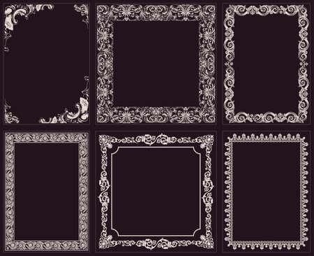 Vector calligraphic frames set. Baroque ornament and vintage black border