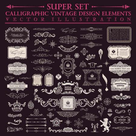 Illustration pour Calligraphic design elements. Vector baroque set. Vintage design elements and page decoration. Border frames collection royal ornament - image libre de droit