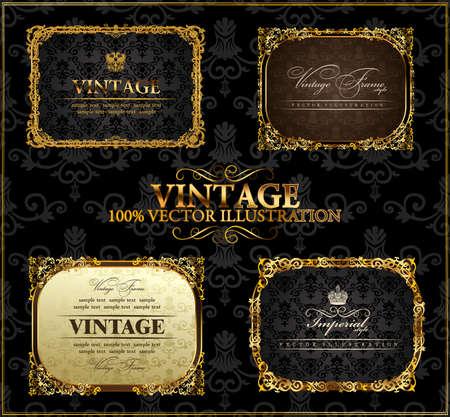Illustration pour Vector vintage Gold frames decor set label - image libre de droit