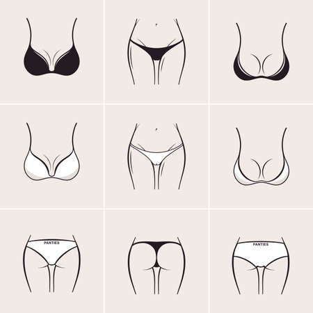 Sexy bra and panties, icons  . Beautiful elements of women underwear
