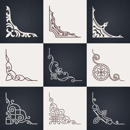 Illustration pour Calligraphic design elements. Vintage corners set. Lines style - image libre de droit