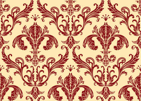 Background antique seamless wallpaper. Red decor vintage