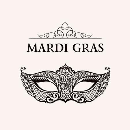 Illustration pour Beautiful mask of lace. Mardi Gras vector background. Gold and black masquerade mask. Venetian carnival mask. Vintage unique luxury quality pattern - image libre de droit