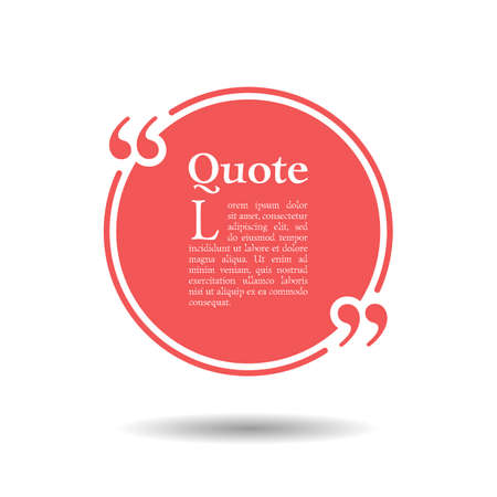 Illustration pour Quote empty text bubble. Frame ball is round. Quotes, comma, note, message, quote, blank, template, text, bulleted, tags and comments. Dialog window. Vector design element. Black and white - image libre de droit