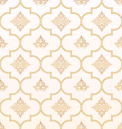 Illustration for Vector seamless gold and white pattern with art ornament. Vintage elements for design in Eastern style. Ornamental lace background. Ornate floral decor for wallpaper. Endless texture - Royalty Free Image
