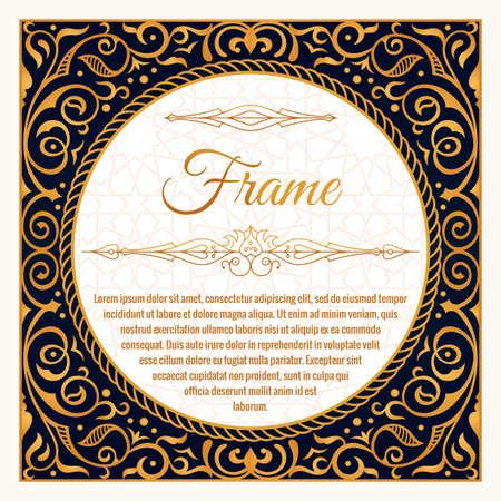 Illustration pour Floral frame or label in vintage ornament for packing - image libre de droit