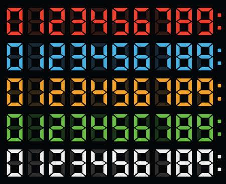 Illustration pour led numbers, display numbers, digital numbers, digital clock, clock display, light numbers, glow numbers, led numbers on display - image libre de droit