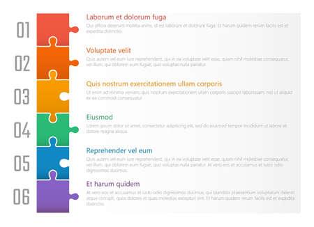 Illustration pour numbered list template, chart table vector design with colorful puzzles - image libre de droit