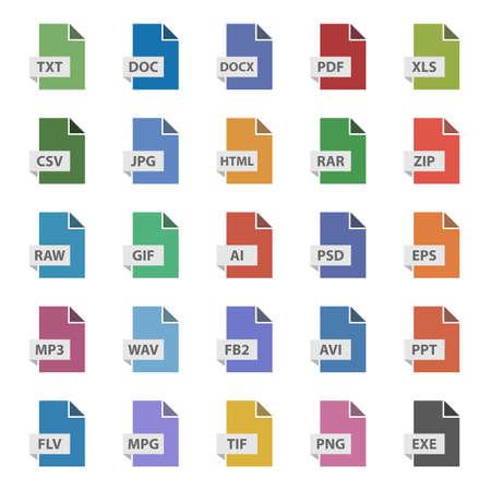 Illustration pour document format vector sign set, file flat icons - image libre de droit