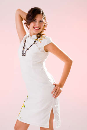 beautiful white dress  active woman in a happy and joyful mood