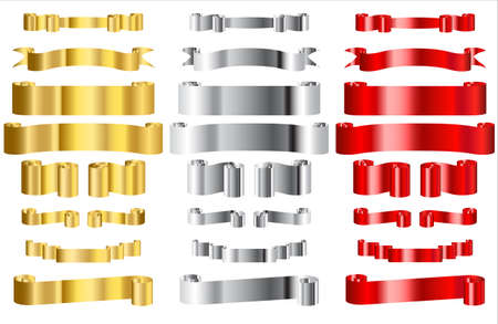 Metallic Red, Gold and Silver Ribbons
