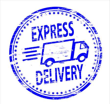 Illustration pour EXPRESS DELIVERY Rubber Stamp - image libre de droit