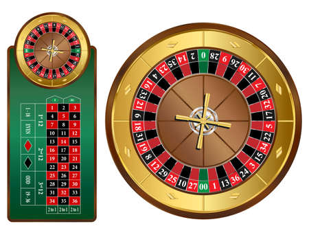 American style roulette wheel and table illustration
