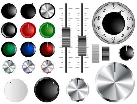 Plastic and chrome knobs, dials and sliders