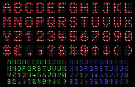 LED Display font numbers and letters in red, green and blue