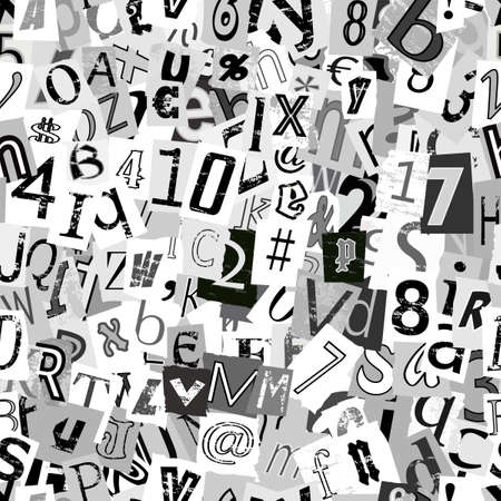 Black and white repeating newsprint letters wallpaper background