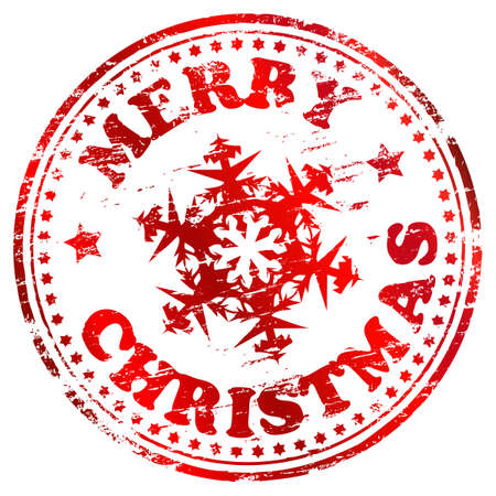Merry christmas rubber stamp with snowflake  illustration