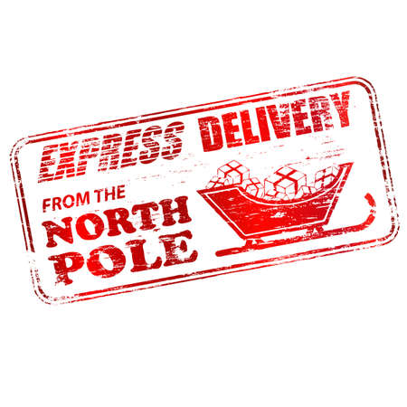 Express delivery from the North Pole rubber stamp  illustration