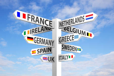 Photo for Europe destinations and flags signpost against blue sky - Royalty Free Image