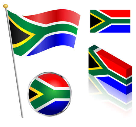 South African flag on a pole, badge and isometric designs vector illustration.
