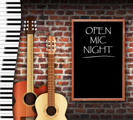 Photo pour Guitars and keyboard against brick wall background and open mic night written on blackboard - image libre de droit