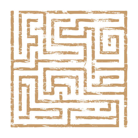 Faded maze puzzle icon grungy vector illustration