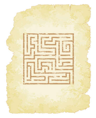 Faded maze on old parchment vector illustration