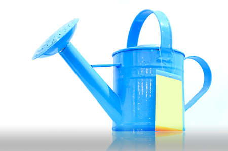 Blue tin watering sprinkle can isolated