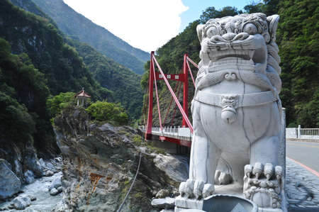 Marble Chinese lion statue at Taroko Gorge Taiwan