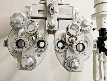 Bifocal Optometry eyesight measurement device on white background