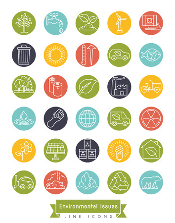 Illustration for Collection of Environment and Climate related vector line icons in colored circles. Sustainability, global warming and polution symbols. - Royalty Free Image