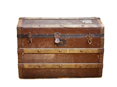 Antique travel trunk over white with path