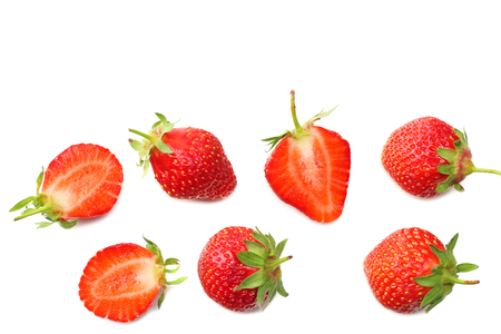 Foto de Strawberry and slices isolated on white background. Healthy food. top view - Imagen libre de derechos