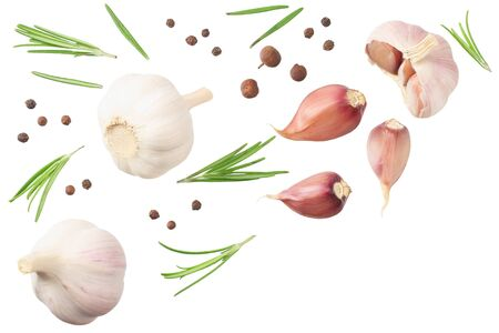 Foto für garlic with rosemary, peppercorns and allspice isolated on white background. top view - Lizenzfreies Bild
