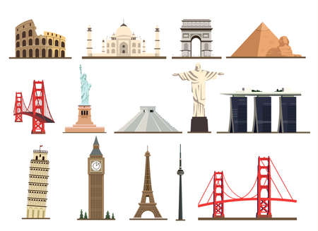Illustration pour Big set of famous landmarks of the world isolated on white background. - image libre de droit