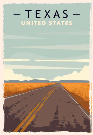 Illustration pour Texas retro poster. USA Texas travel illustration. United States of America greeting card. vector illustration. - image libre de droit