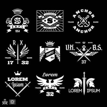 vintage labels with eagle, anchor, rose, crown