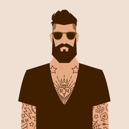 flat cartoon hipster character, vector illustration man with tattoo