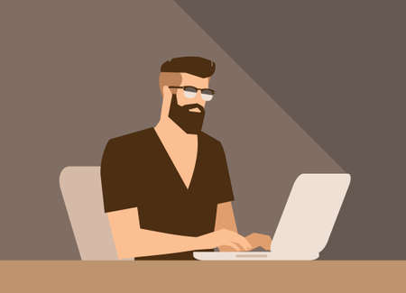 Illustration for flat cartoon bearded hipster freelancer character, vector illustration, man with laptop - Royalty Free Image