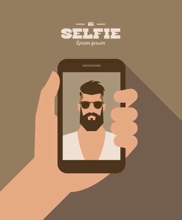 Ilustración de flat cartoon bearded hipster character taking selfie photo on smart phone, vector illustration with hand - Imagen libre de derechos
