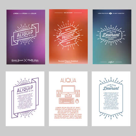 set hipster geometric typography gradient retro flyer , poster with star burst , ribbon , computer