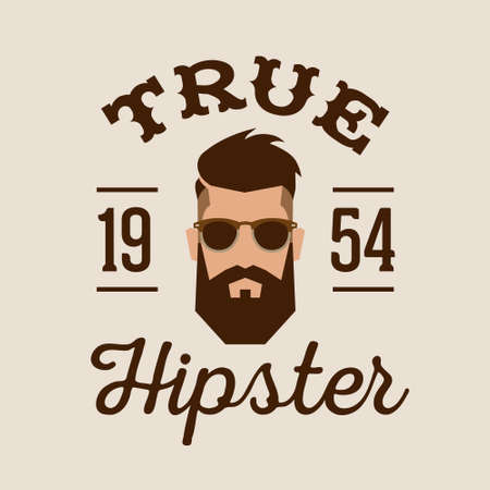 Illustration for retro color label badge or logo True Hipster with head beard glasses ( T-Shirt Print ) - Royalty Free Image