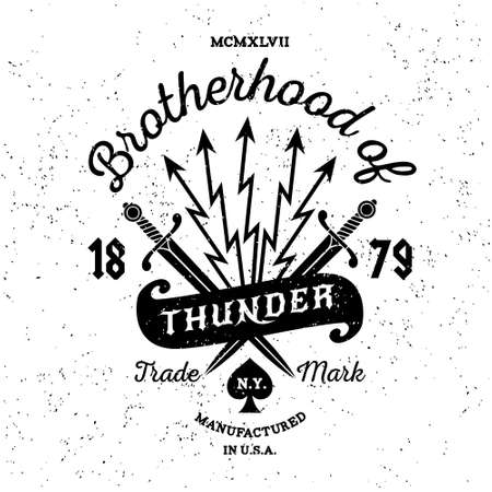 Photo pour hipster vintage vector label , badge , logo   Brotherhood of Thunder  for poster, tattoo or t-shirt print with sword, lightning, ribbon and lettering - image libre de droit