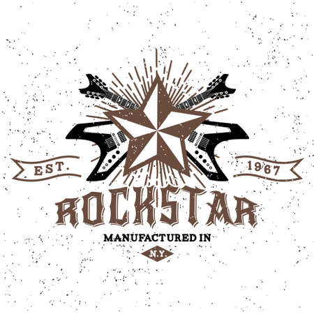 Photo pour monochrome hipster vintage label , badge , logo   rock star  for flayer, poster or t-shirt print with electric guitar, starburst, ray and lettering - image libre de droit