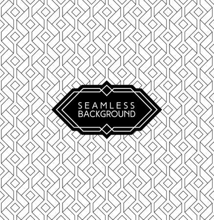 monochrome seamless arabic art deco black and white wallpaper or background with hipster label or badgeのイラスト素材