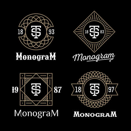 Ilustración de set art deco luxury classic linear monochrome golden minimal hipster geometric vintage vector monogram, frame , border , label  for your logo badge or crest - Imagen libre de derechos