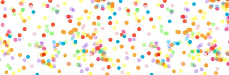 Photo pour Banner made from bright multicolored confetti isolated on a white background. Festive concept. Childrens party, birthday, wedding, celebration. Top view. Copy space. - image libre de droit