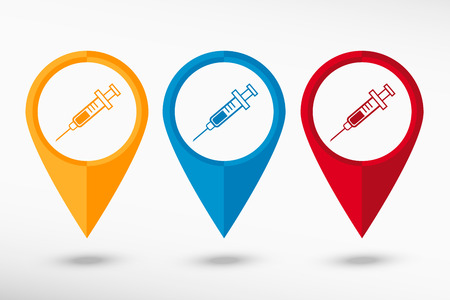 Syringe icon map pointer, vector illustration. Flat design style